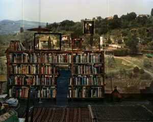 View-of-Landscape-Outside-Florence-in-Room-With-Bookcase